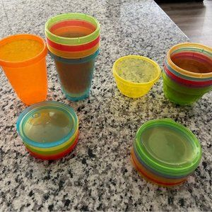 Toddler cups, plates and snack cups (17 items)
